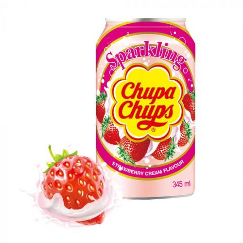 Chupa Chups Sparkling Strawberry Cream  345ml Can ( South Korea )